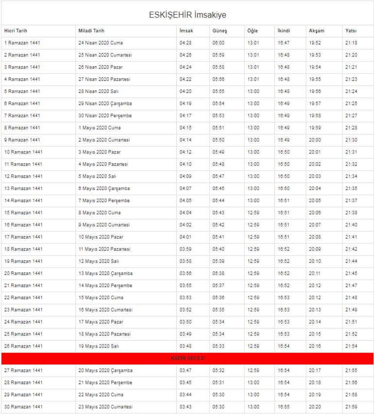 Eskişehir, Bilecik ve Afyonkarahisar İftar Vakitleri (2020 İmsakiye) - Sahur ve imsak saat kaçta Eskişehir, Bilecik ve Afyonkarahisar Ramazan imsakiyesi...