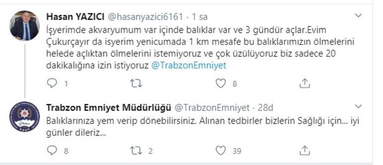İş yerinin akvaryumundaki balıklarına yem vermek için Trabzon Emniyetinden yardım istedi