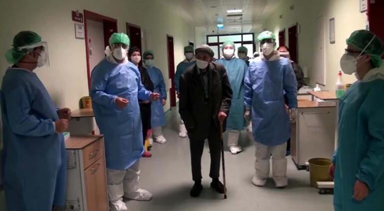 101 yaşında corona virüsü yendi Alkışlarla taburcu edildi