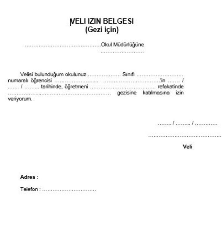 Gezi belgesi veli izin Okul Gezileri