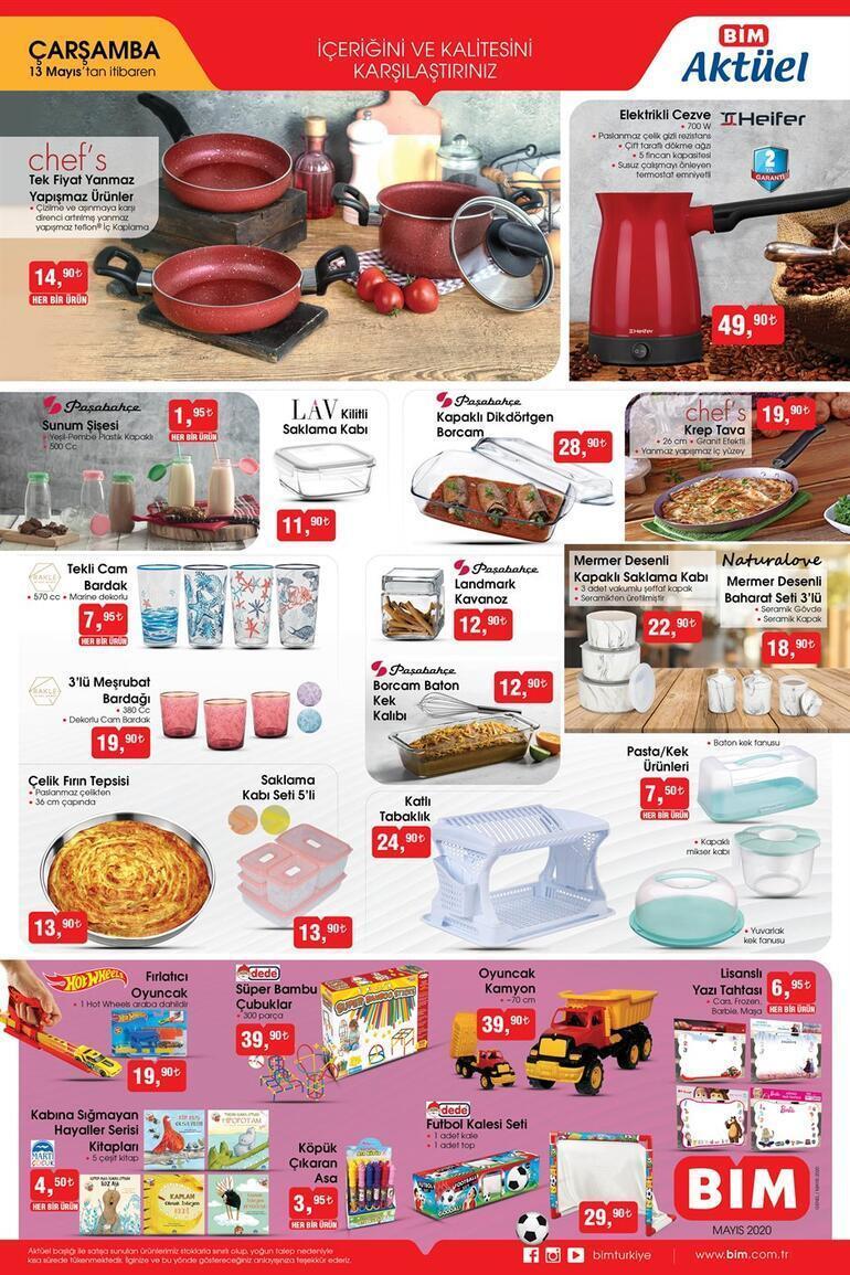 13 Mayıs BİM aktüel ürünler kataloğu BİMde satışa sunulan indirimli ürünler kataloğunda bu hafta neler var