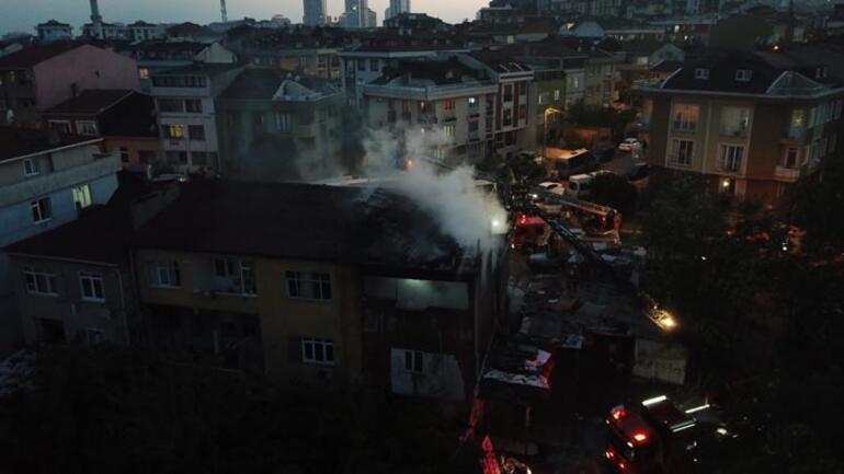 Ataşehirde korkutan yangın Çevre ilçelerden destek geldi
