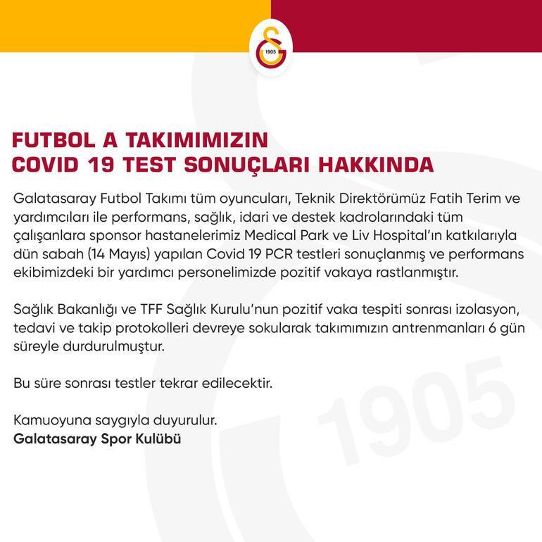 Son dakika | Galatasarayda bir kişinin koronavirüs test sonucu pozitif çıktı