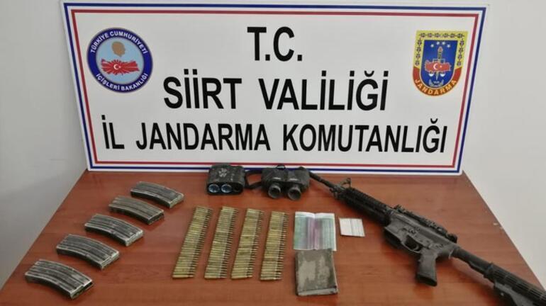 Siirt kırsalında PKKlı teröristlere ait silah ve mühimmat ele geçirildi