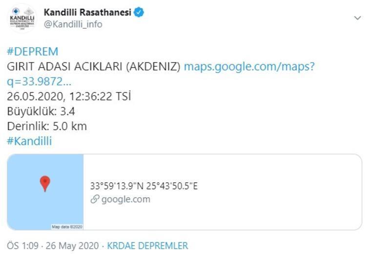 Son dakika haberleri: Akdenizde bir deprem daha Depremin büyüklüğü...