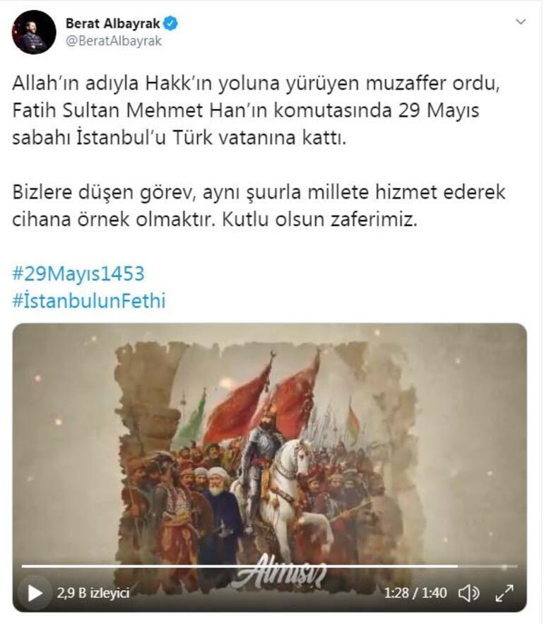 Bakan Albayrak, İstanbulun fethinin yıl dönümünü kutladı