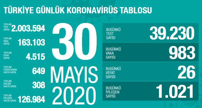 Corona virüs tablosu son dakika Türkiye durumu (30 Mayıs 2020)