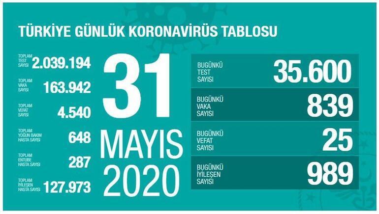 31 Mayıs Koronavirüs SON DURUM tablosu Yayınladı - Ölü sayısı ve Vaka sayısı (test) bugün kaça yükseldi - Sağlık Bakanı Fahrettin Koca Coronavirüs istatistik haritası açıkladı