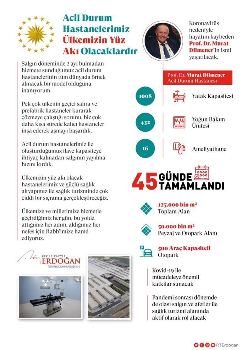 Cumhurbaşkanı Erdoğandan Prof. Dr. Murat Dilmener Acil Durum Hastanesi paylaşımı