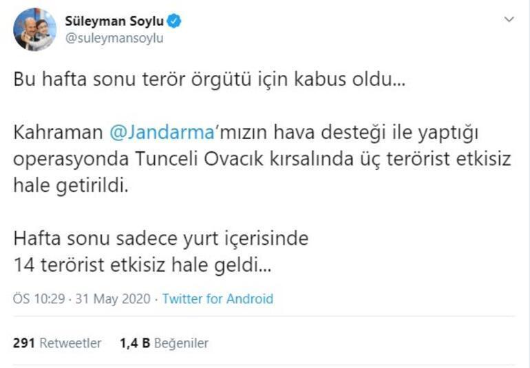 Son dakika: Bakan Soylu duyurdu: Hafta sonu 14 terörist etkisiz hale getirildi