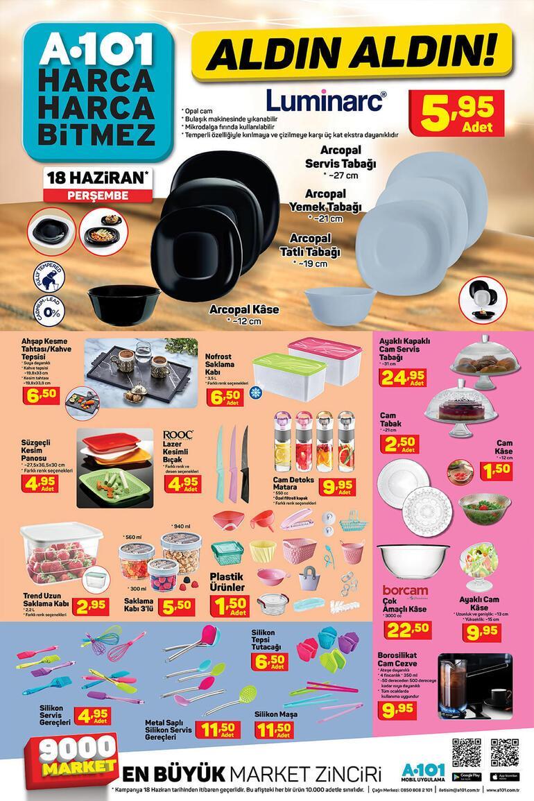 A101 mağazaları saat kaçta açılıyor/kapanıyor 18 Haziran A101 aktüel ürünler kataloğunda bu hafta hangi ürünler var