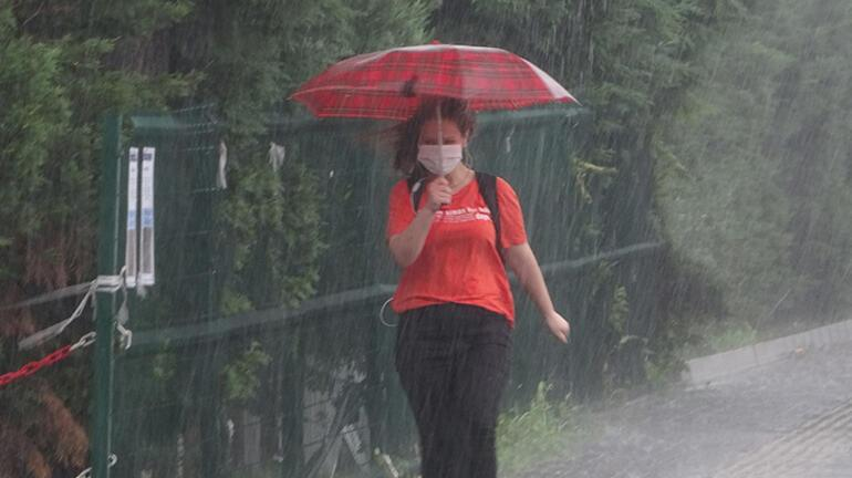 Son dakika: Bursada yağmur hayatı felç etti Sel bir kadını böyle sürükledi