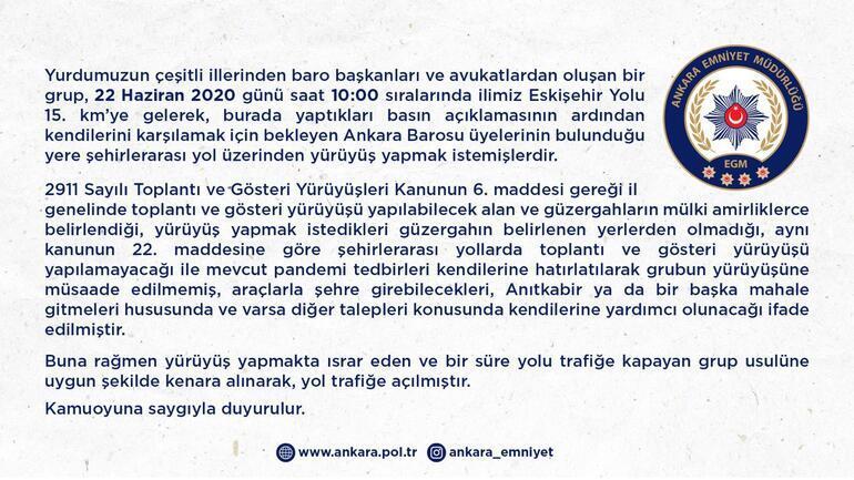 Ankara Emniyetinden baro başkanları ve avukatlar hakkında açıklama
