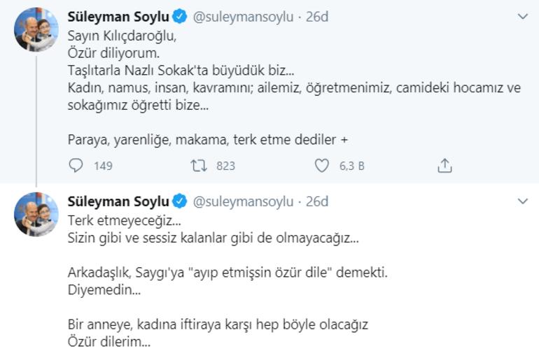 Son dakika Bakan Soylu Özür dilerim dedi ve Kılıçdaroğluna cevap verdi