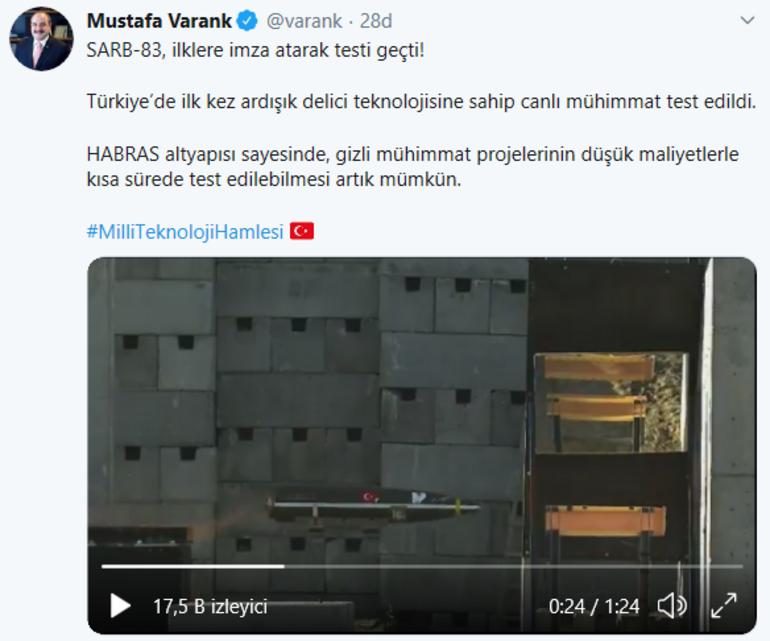 Son dakika: Bakan Varank açıkladı SARB-83 ilklere imza attı