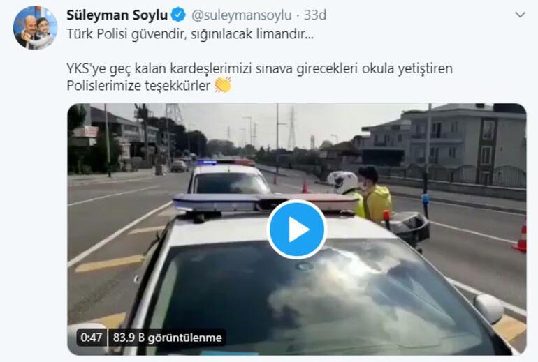 Son dakika Bakan Soylu sosyal medyadan YKS için teşekkür etti