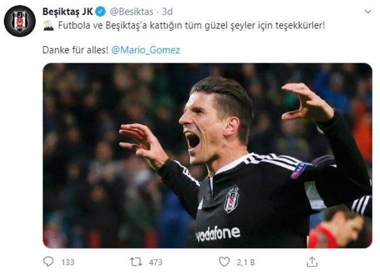 Mario Gomez kariyerini golle bitirdi Beşiktaştan paylaşım...