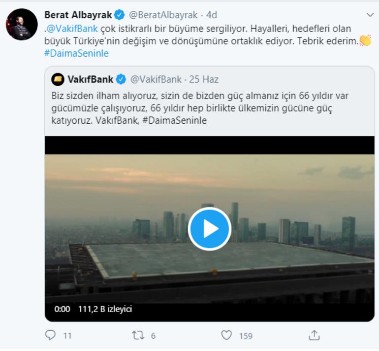 Bakan Albayraktan Vakıfbank açıklaması