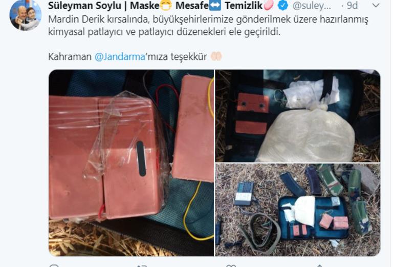 Bakan Soylu: Mardinde büyükşehirlerimize gönderilmek üzere hazırlanan patlayıcı ele geçirildi