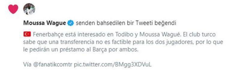 Son dakika haberler - Moussa Wagueden Fenerbahçeli taraftarları heyecanlandıran beğeni