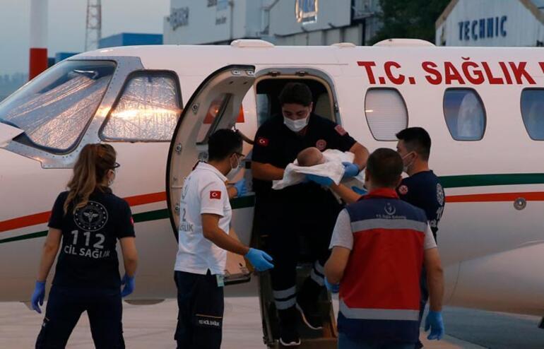 Kalp damarları doğuştan ters olan bebek ambulans uçakla Ankaraya geldi