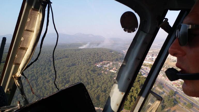 İzmirde orman yangını Helikopterlerle müdahale edildi
