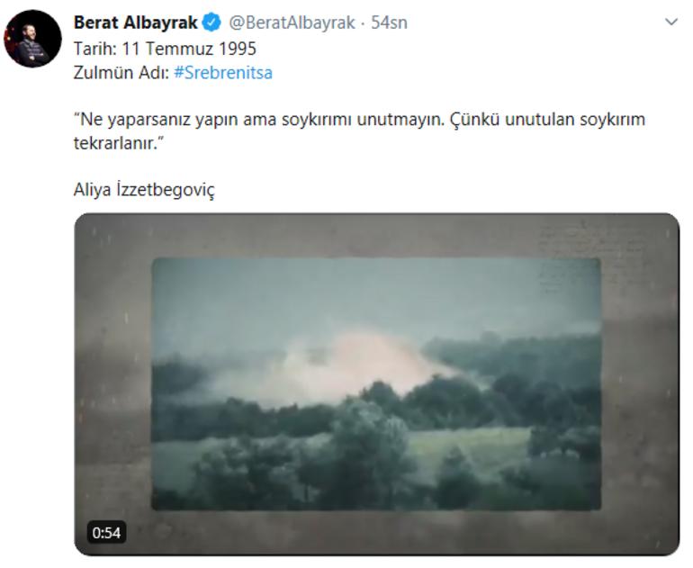 Son dakika: Bakan Albayraktan Srebrenitsa paylaşımı