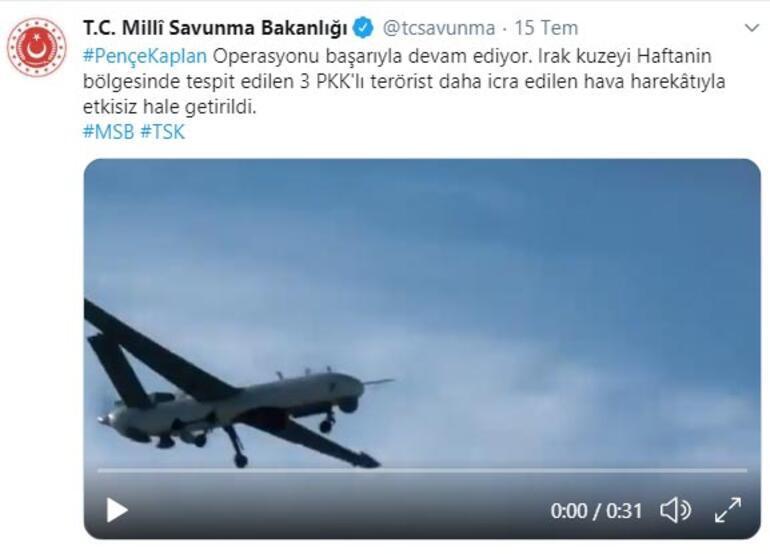 Son dakika... MSB duyurdu PKK'lı 3 terörist etkisiz hale getirildi