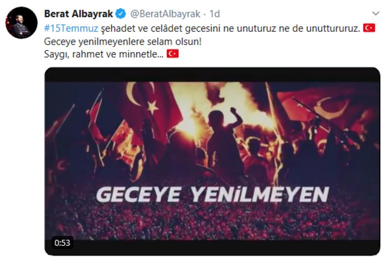 Son dakika: Bakan Albayraktan 15 Temmuz mesajı