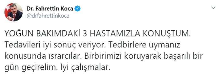 Sağlık Bakanı Fahrettin Kocadan son dakika açıklaması: Yoğun bakımdaki 3 hastamızla konuştum