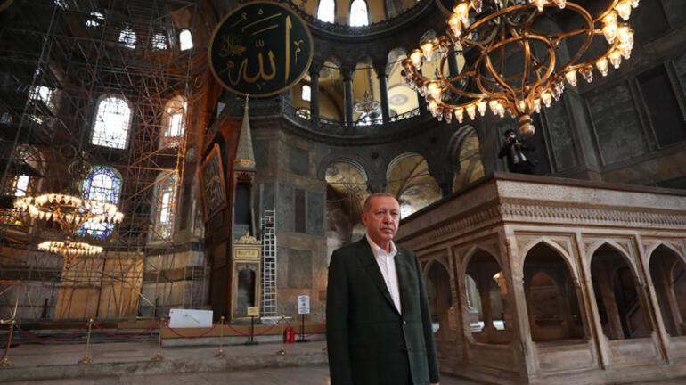Son dakika... Cumhurbaşkanı Erdoğan Ayasofya Camiinde