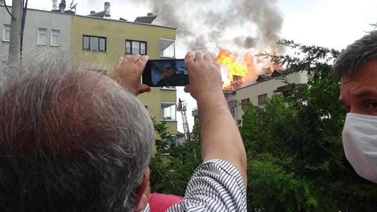 Trabzon'da pes dedirten görüntü Yangını film gibi seyrettiler