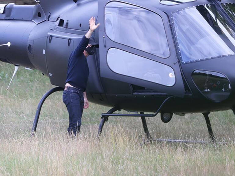 Tom Cruise yemeğe helikopterle gitti