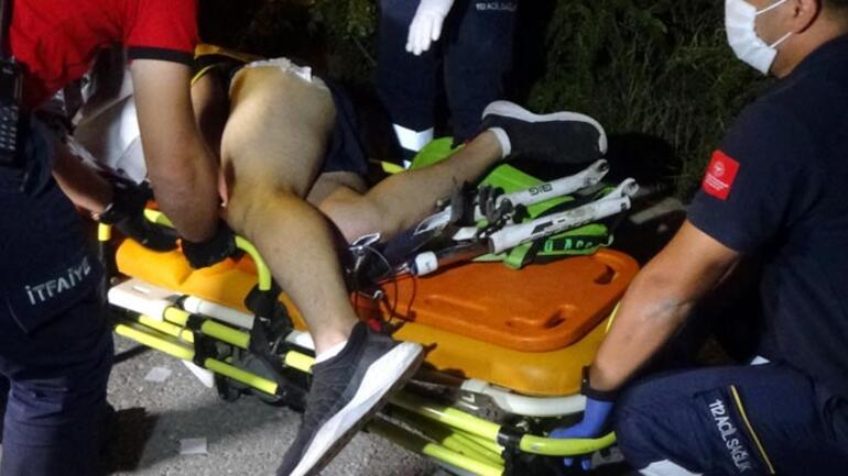 Korku dolu anlar Düştüğü bisikletin gidonu bacağına saplandı
