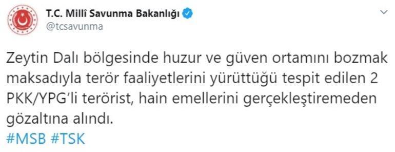 MSB duyurdu Zeytin Dalı bölgesinde yakalandılar