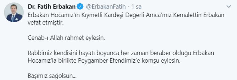 Son dakika Necmettin Erbakanın kardeşi Kemalettin Erbakan vefat etti