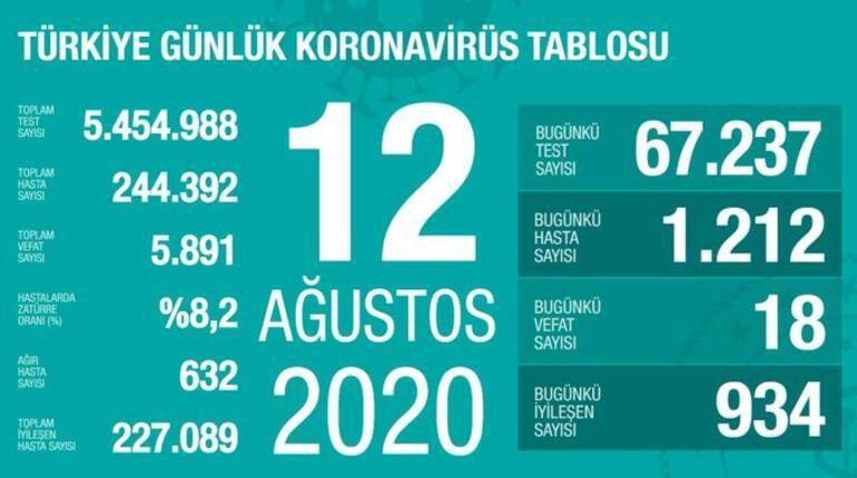 12 Ağustos korona tablosu açıklandı - Bakan Fahrettin Koca: Vaka sayısı ve ölü sayısı bugün kaça yükseldi