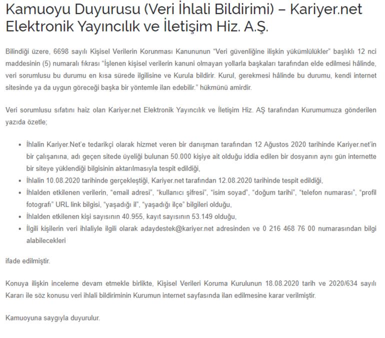 Kariyer.netten KVKKya flaş açıklama