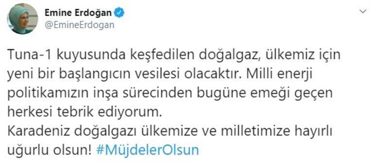 Emine Erdoğandan Karadenizde keşfedilen doğa gaza ilişkin paylaşım