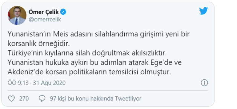AK Partiden Yunanistana sert tepki Türkiye'nin kıyılarına silah doğrultmak akılsızlıktır