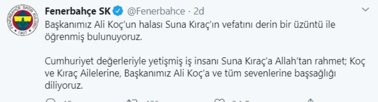 Son dakika: Suna Kıraç hayatını kaybetti