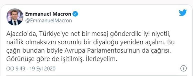 Son dakika... Macrondan Türkçe tweet: Türkiyeye net bir mesaj gönderdik