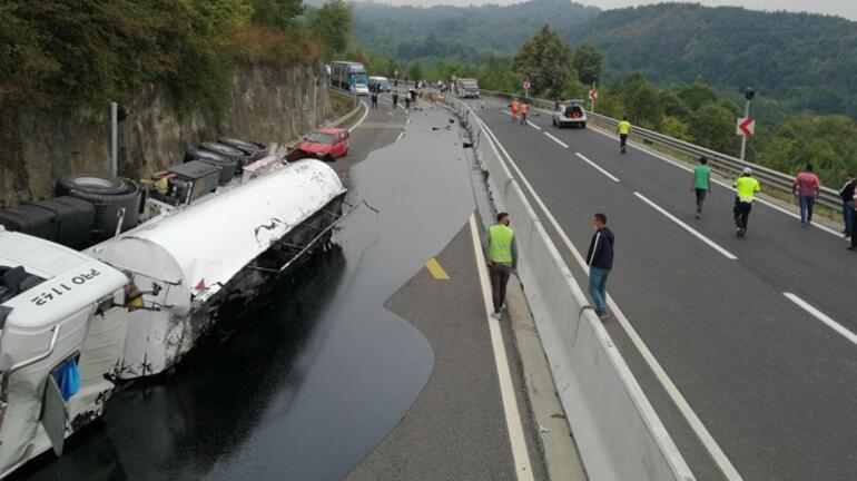 Zift yüklü tanker devrildi, Bolu Dağı ulaşıma kapandı