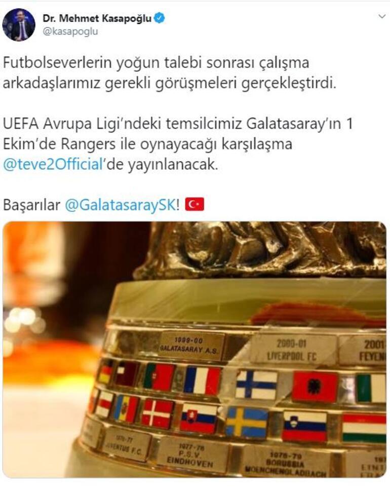 Son dakika | Bakan Kasapoğlu müjdeyi açıkladı  Rangers - Galatasaray maçı şifresiz...