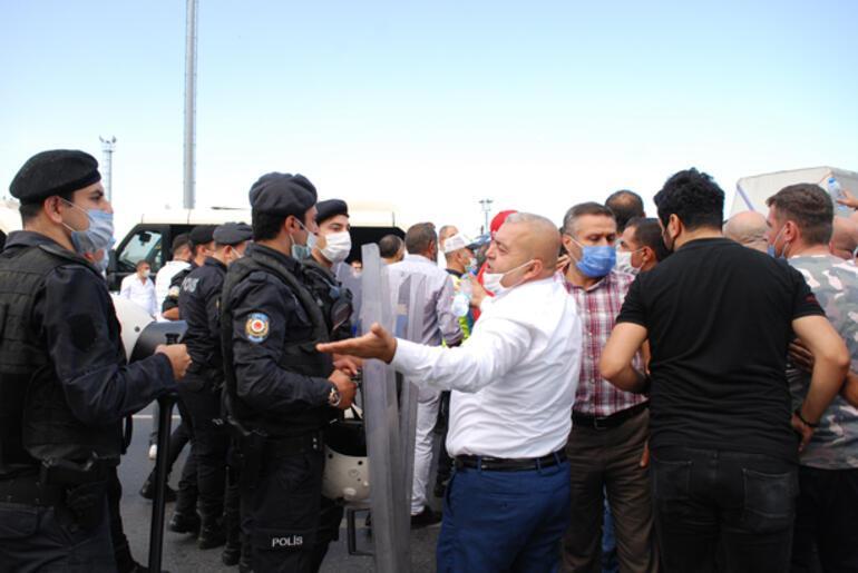 Haremde eylem yapan minibüsçülere polis müdahalesi