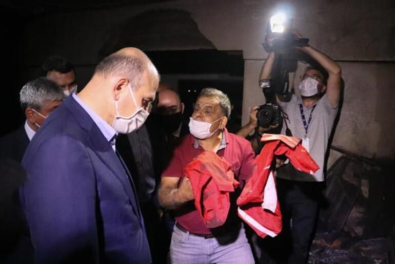 Bütün eşyaların yandığı odada sadece Türk bayrağı yanmadı