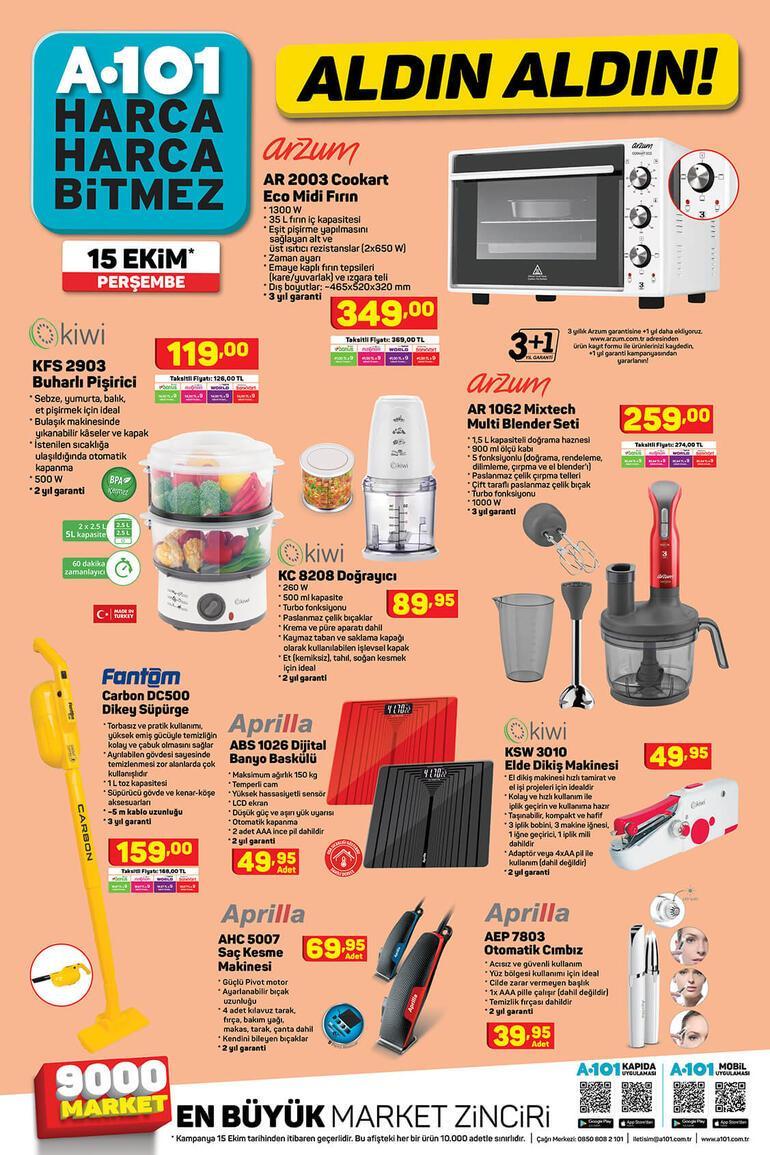 A101 mağazaları saat kaçta açılıyor A101 15 Ekim aktüel ürünler kataloğu...