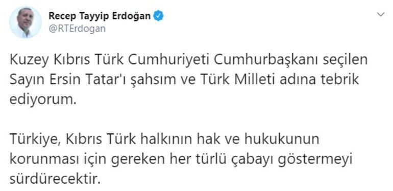 Cumhurbaşkanı Erdoğandan Ersin Tatara tebrik mesajı