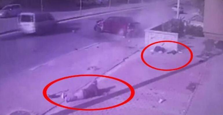 Otomobilin çarptığı baba ve oğulun öldüğü kaza kamerada