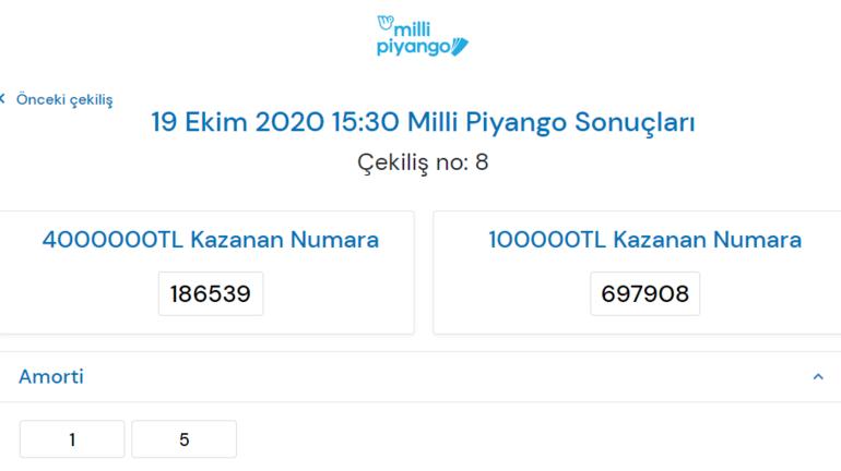 Milli Piyango çekiliş sonuçları belli oldu 19 Ekim Milli Piyango bileti sorgulama ekranı
